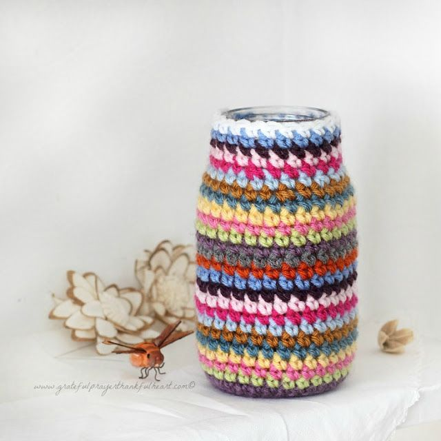 With a Grateful Prayer and a Thankful Heart: Crochet Cozy for Jars or Cans