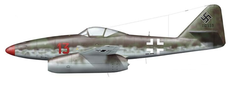 Messerschmitt Me 262 A-1a - EJG 2 flown by Luftwaffe ace Major Heinz Bär. During the remainder of World War II, Bär was credited with 130 other aerial victories, including 16 while flying one of the first jet fighters, the Me 262, an achievement which would normally have earned him the coveted Knight's Cross of the Iron Cross with Oak Leaves, Swords and Diamonds.