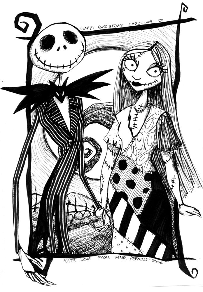 Jack And Sally Night Mere Before Christmas Pinterest Nightmare Before Coloring Page
