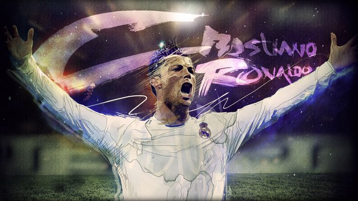 Cristiano Ronaldo CR7 illustration artwork by Adolfo Correa, Champions League.