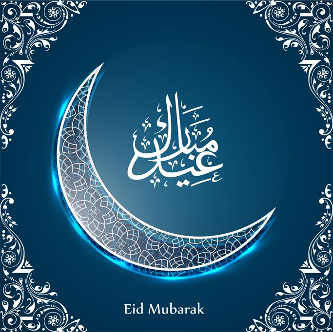Shiny crescent moon on floral decorated blue background.  Eid Mubarak Corporate…