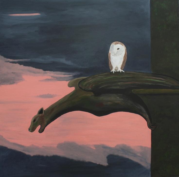 "Robert Harris; Oil, Painting ""Barn Owl on a Gargoyle 2"""