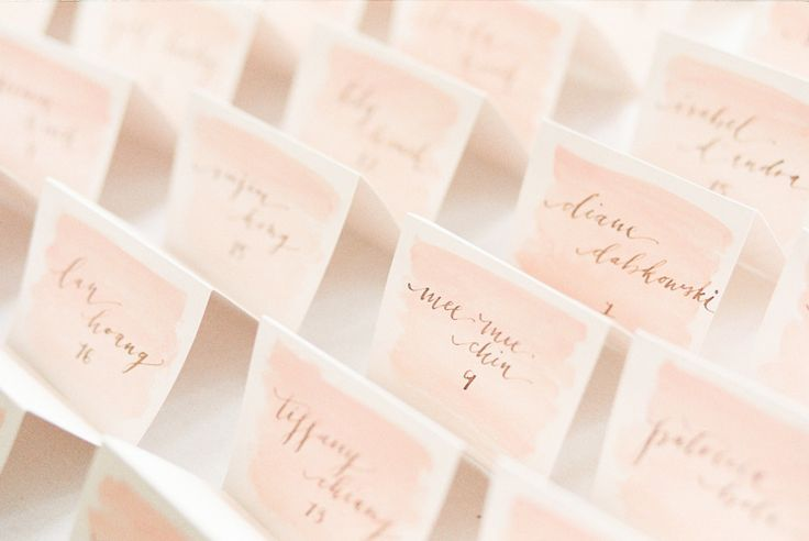 #escort-cards, #watercolor  Photography: Ashley Kelemen - ashleykelemen.com/  Read More: http://www.stylemepretty.com/2014/11/04/romantic-spring-hudson-valley-wedding/