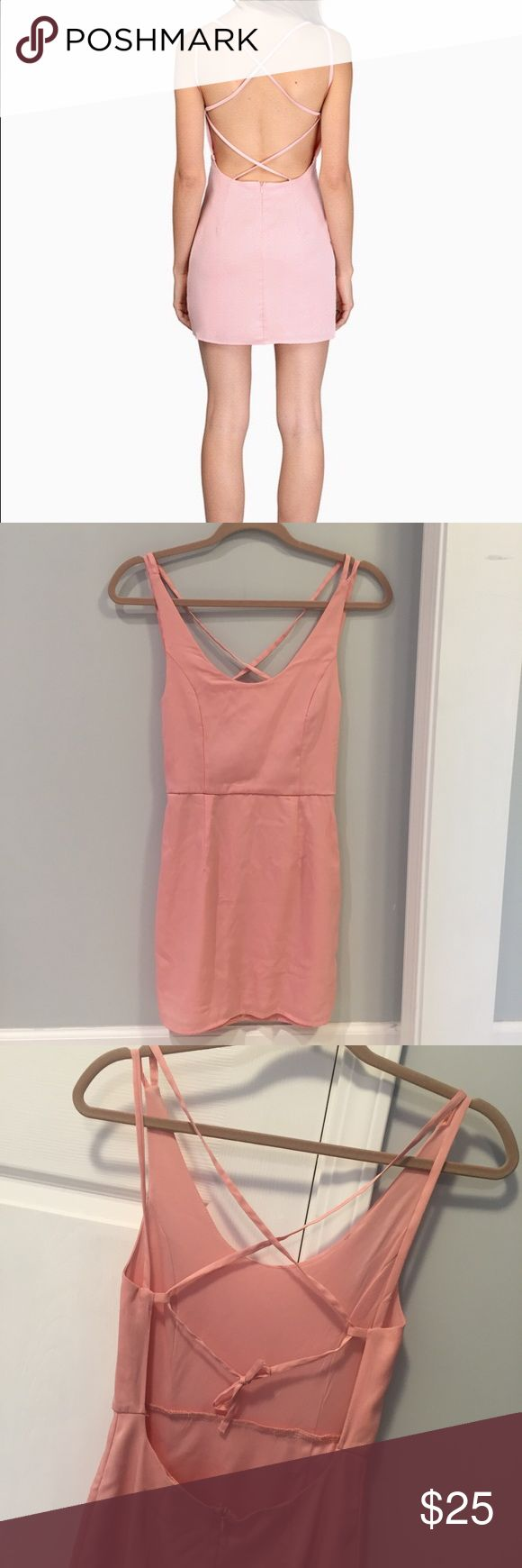 Tobi Criss Cross Back Blush Pink Mini Dress Small Size small Tobi Pink Criss Cross dress. Super sexy and great for going out, just pair it wth your favorite heels and you'll be good to go! No flaws! Tobi Dresses Mini