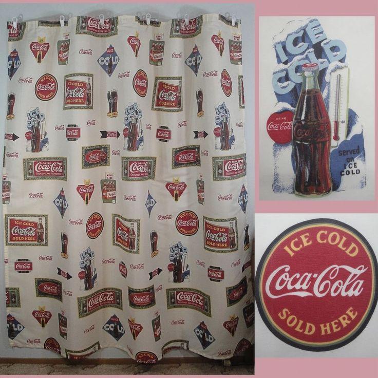 Coca cola coke retro polyester shower curtain vintage - Bathroom coca cola shower curtain ...
