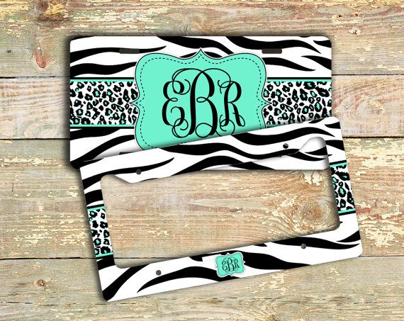Mint monogram license plate or frame - Mint green with zebra print - personalized car tag, monogrammed bicycle plate bike accessory (1013) on Etsy, $12.99