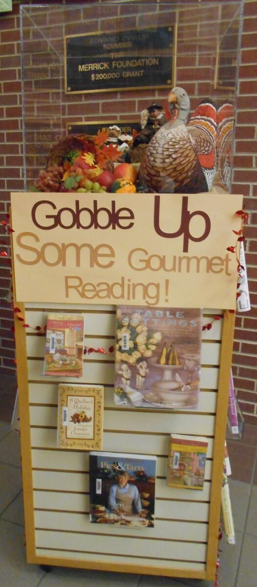 """Looking for some inspiration for your upcoming holiday cooking? Stop by our """"Gobble Up Some Gourmet Reading"""" display! We have books on topics such as: creating beautiful table settings, baking delicious pies, tarts & hors d'oeuvres and selecting a delectable side dish to make.  — at Central City Public Library (Central City, NE)."""