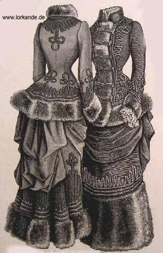 """Dated 1882 by owner. """"Tages(Eislauf)kleid. Braunes Tuch entweder mit Pelz oder Plüsch, Litzenverzierung"""" ~= Winter day dress in a brown cloth with a furred edge and cord trimmings.                                                                                                                                                     Mehr"""