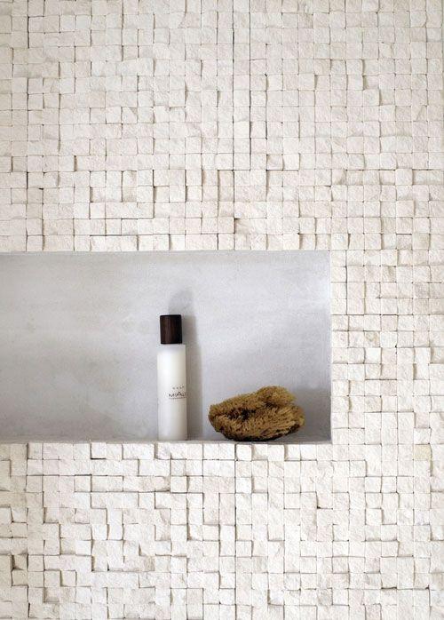 Juxtaposition of tile textures creating a great look with rough mosaic and smooth niche #DesignPinThurs available at #TileSensations