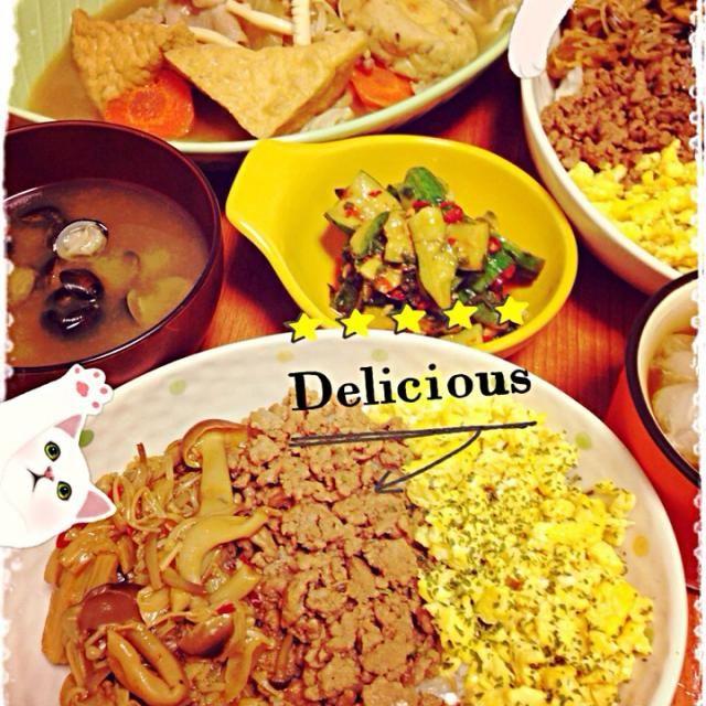揚げ出し豆腐、がんも、人参、イカ、玉ねぎで煮ました。三色ご飯の一色はしめじとニンニク、豆板醤、コチジャンで味付け。玉子と挽肉は甘味で^ ^ - 68件のもぐもぐ - 三色ご飯➕シジミの味噌汁➕揚げ出し豆腐煮 by hanacooooo