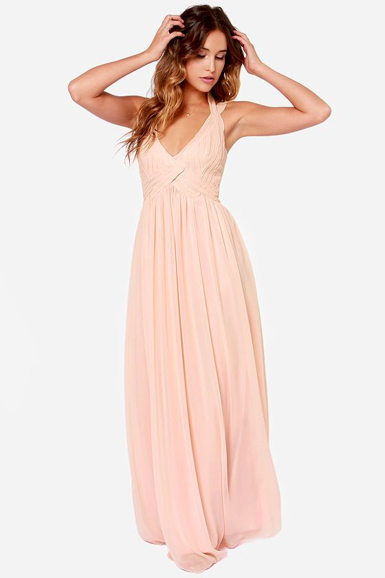 Long peach colored dresses