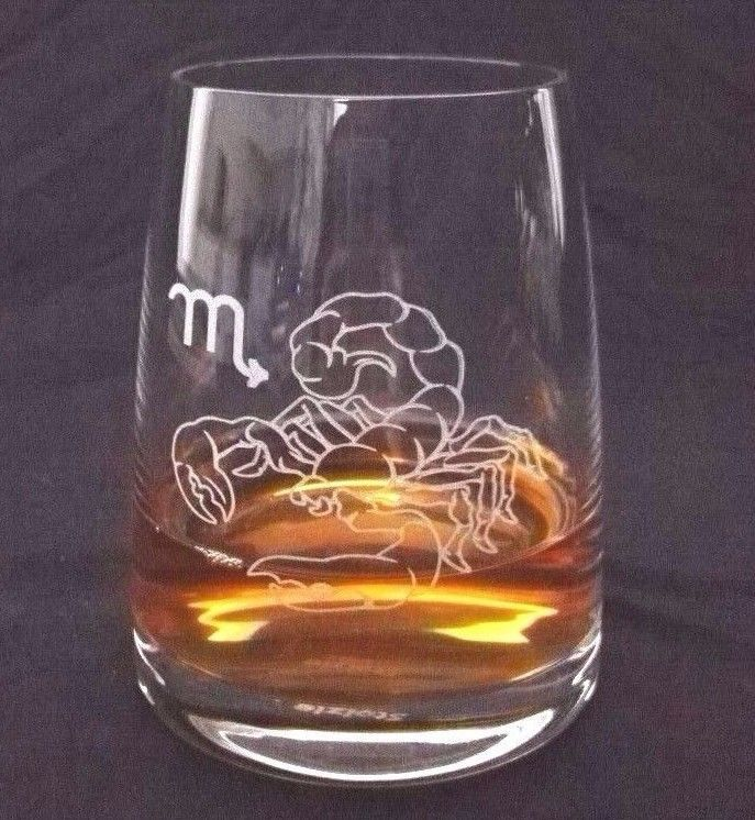 Engraved Personalised - Zodiac Sign - Whisky / Whiskey Crystal Glass
