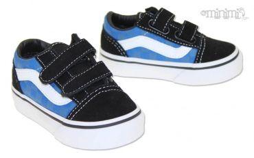 Photo Vans Old Skool V Tonal Check- baskets enfant (Toddler) à scratchs - Noir et bleu #mode #enfant #basket #vans