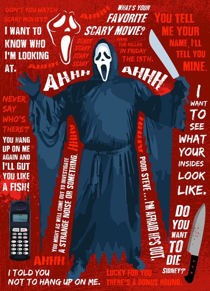 "brokehorrorfan: ""Costume SuperCenter created these neat graphics featuring the most memorable quotes from A Nightmare on Elm Street's Freddy Krueger and Scream's Ghostface. """