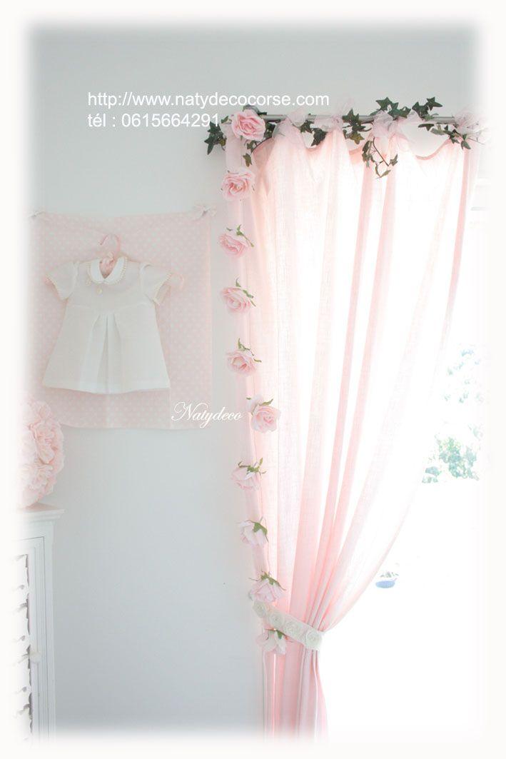 light garland fabric painted by natydeco pink powder or ecru www.natydecocorse …