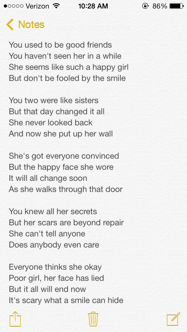 Self harm, suicide, depression, cutting.  Sorry for the small print I wanted to get the whole poem in