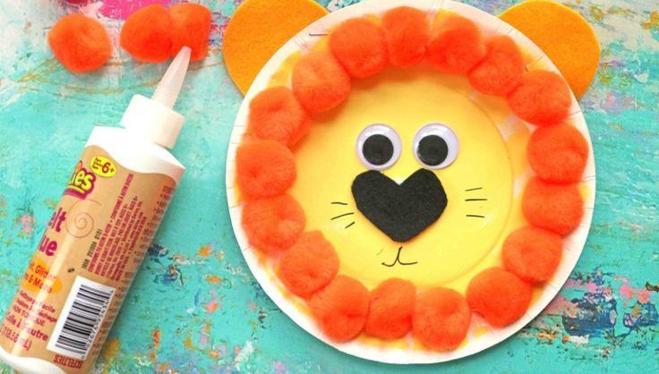 Paper Plate Pom Pom Lion – Kid Craft