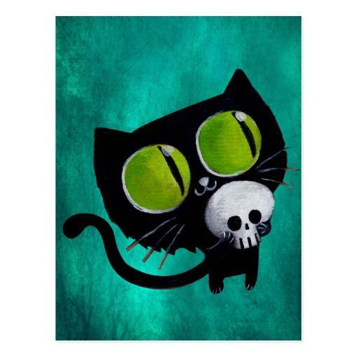 Schwarze Halloween-Katze mit dem Schädel Postkarte