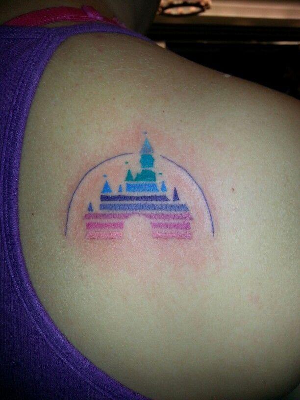 Disney castle logo tattoo in color