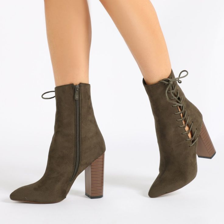 Emilia Lace Up Side Pointed Toe Ankle Boots in Khaki Faux Suede
