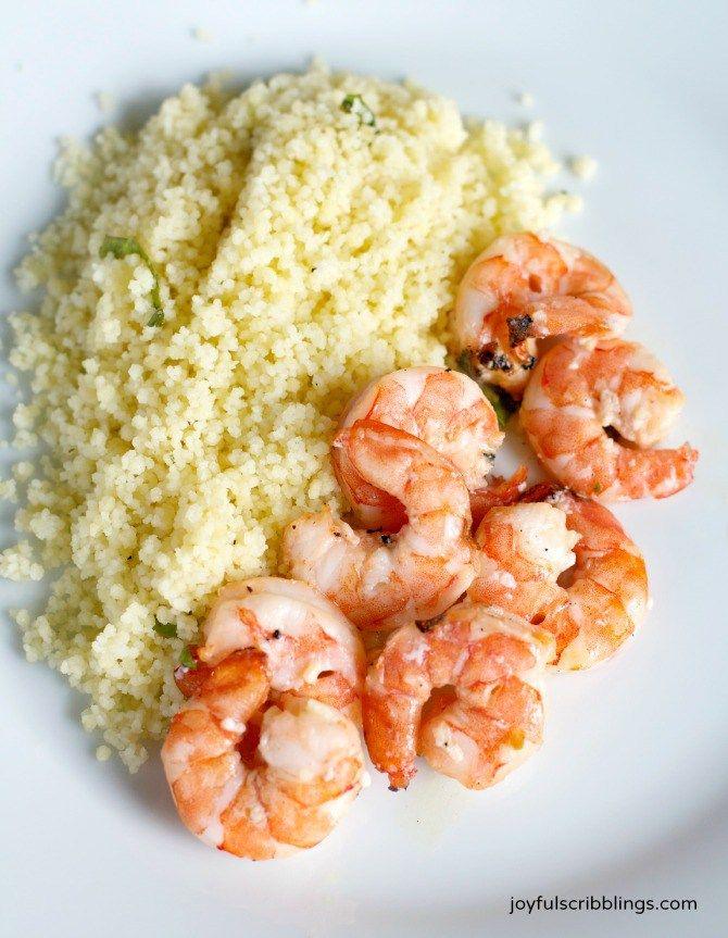 #lemon basil grilled shrimp & couscous