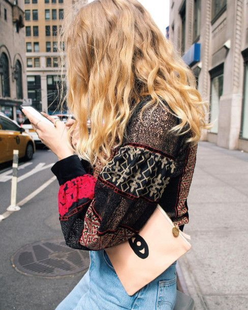 """nice Idée Tenue """"Day to night"""" : Blouse: boho boho printed nude pouch pouch wavy hair eyes date outfit outfit ide..."""