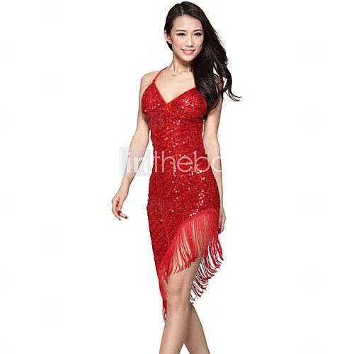 Latin Dance Dresses Women's Performance Spandex / Polyester Sequins 1 Piece Dress Dress length: 80-110cm 2016 - $19.54