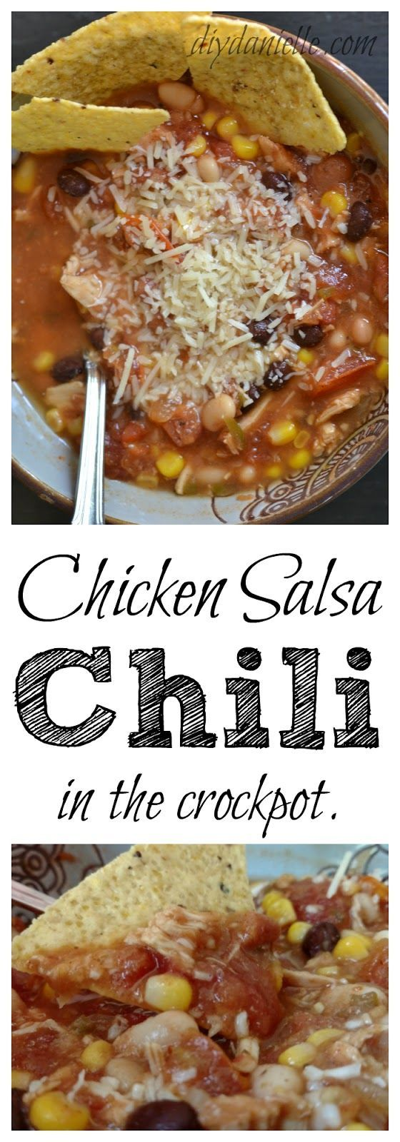 This chicken salsa chili can be made in the crockpot and it tastes oh-so-good!