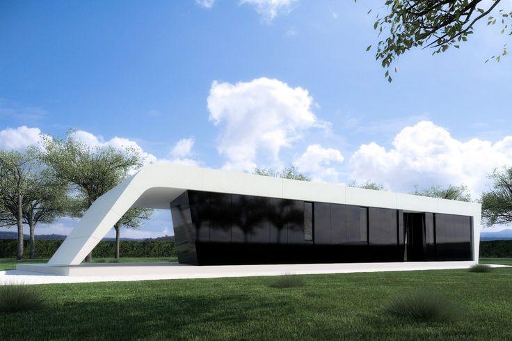 Model Lange | A-cero Tech | Studio A-cero architectuur en stedenbouw Prefab van 98'84m2 (2 slaapkamers, 1 badkamer, keuken en woonkamer). Lay-out met open ruimtes. Prijs: € 109.000