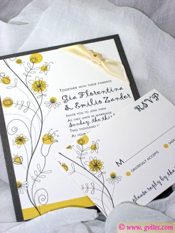 Daisies Wedding invitation, Yellow, gray and White Wedding Invitations - Personalized Wedding Cards - Custom Daisies Wedding Invitations