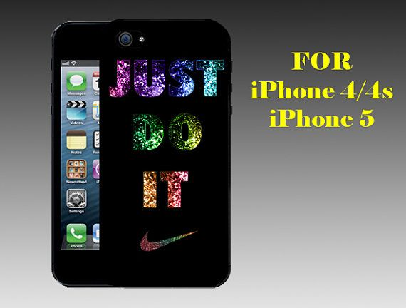 Nike Just Do it Glitters - Print on Hard Cover iPhone 5 Black Case - iPhone 4/4s Case - Please Leave a Note For the Type Case and Color Case