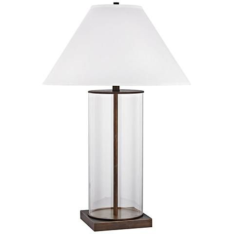 Park Slope Dunbrook Bronze and Clear Glass Table Lamp - #9T408 | Lamps Plus