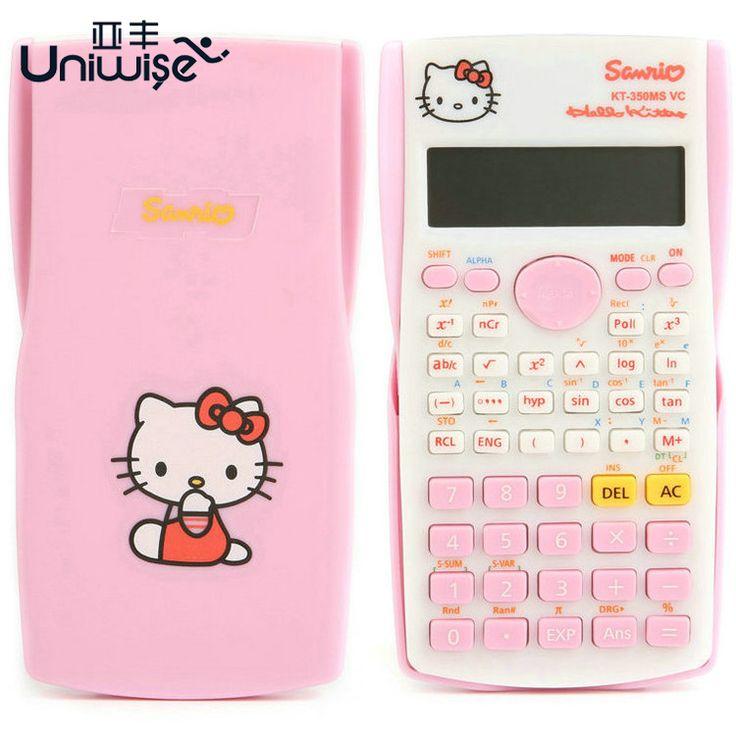 Hello Kitty y Doraemon Calculadora Función de Calculadora Científica Uniwise 10 + 2 Pantalla Digital LCD de $ Number Líneas, envío Sin Batería