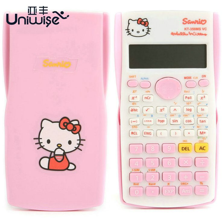 Hello Kitty & Doraemon Function Calculator Uniwise 10+2 Digital Display 2-Line LCD Scientific Calculator, Shipping No Battery