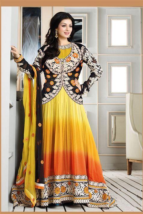 Fashionable Ayesha Takia Yellow, Black, Orange Georgette Heavy Embroidered Long  Anarkali Suit
