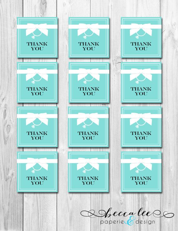 INSTANT DOWNLOAD - Bride & Co Favor Tags - Tiffany Inspired Bridal Shower - DIY - Printable