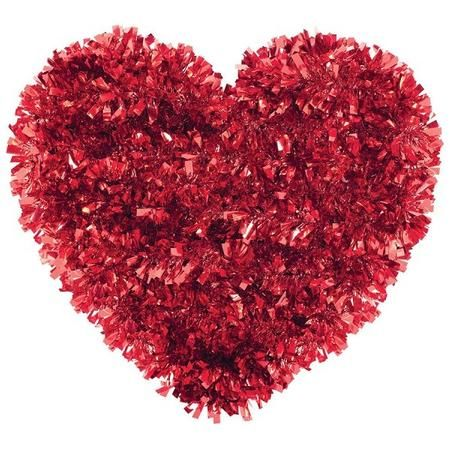 Decorate doors, walls and more with our Valentine Tinsel Heart Decoration for a fun and festive look. This Valentine Red Tinsel Heart Decoration measures 11in x 13in and includes one per package.