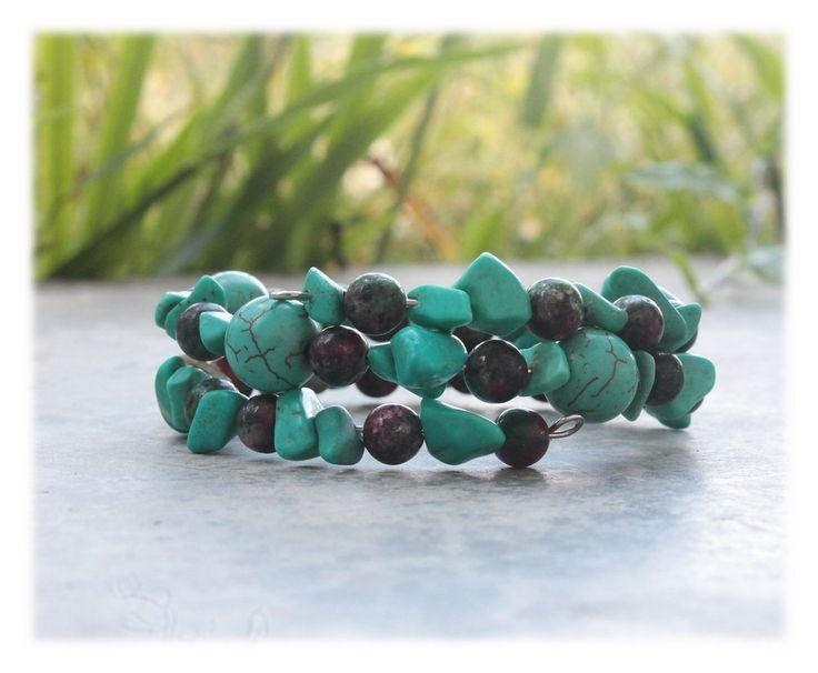 Memory Wrap Bracelet / Armlet with Turquoise & Jasper by Malatichan on Etsy