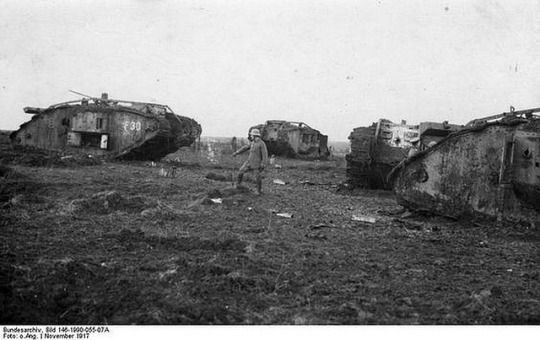 he Battle of Cambrai 1917.British offensive (20 November - 8 December 1917) on the Western Front during WWI that marked the first large-scale, effective use of tanks in warfare