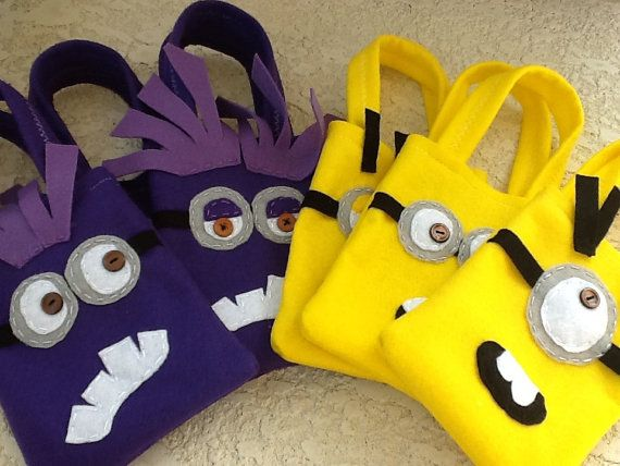 Despicable Me Funny purple and yellow minions Party favor Set of 12 bags on Etsy, $42.00