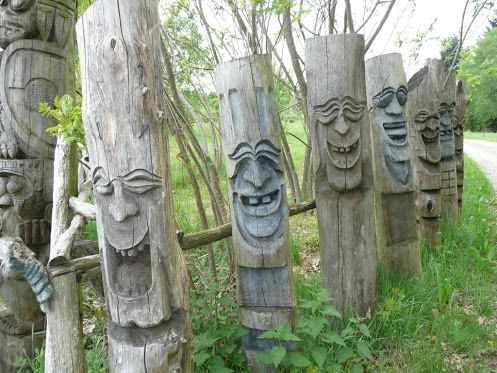 carved wood posts