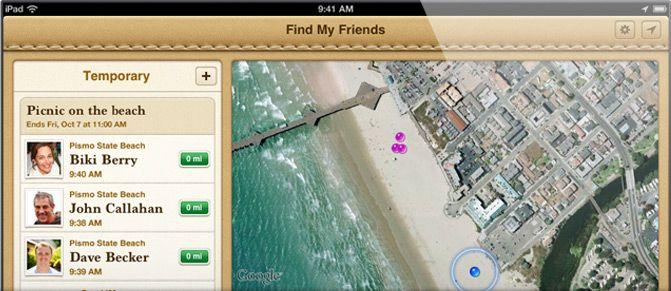 locate iphone friends app