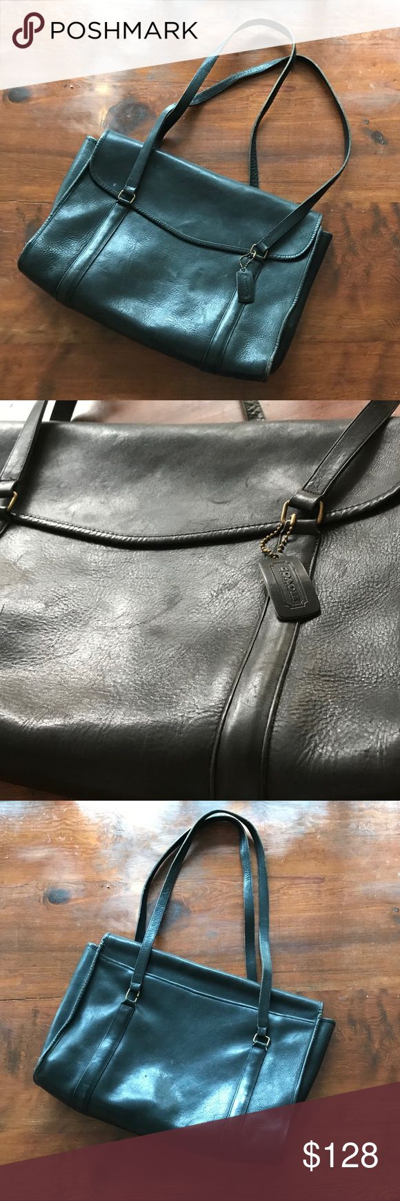 Coach Briefcase Black Leather Authentic Coach briefcase with brass hardware. Coach Bags Laptop Bags