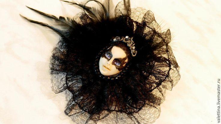 Купить Готика брошь Черный лебедь - черный, готика, хеллоуин, лебедь, балет, драма, балерина