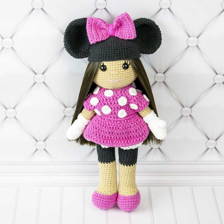 Crochet doll in Minnie Mouse costume