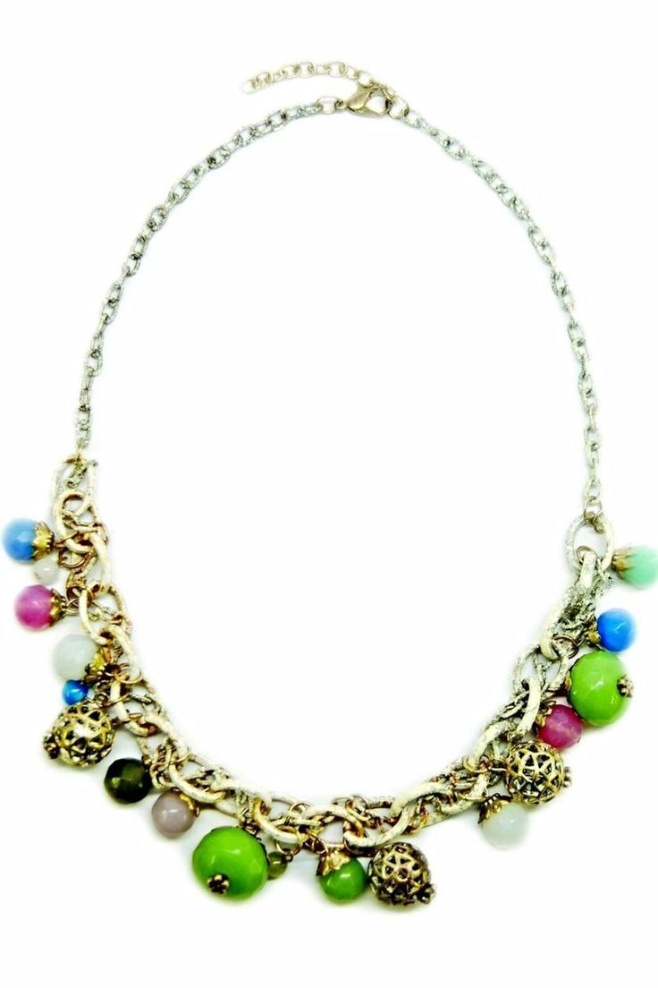 """Our shabby chic white & gold chain necklace is accented throughout with multi-color ball charms in green, blue, white, pink, and orange hues. This long necklace is great for layering, which just adds to the bohemian vibe. It measures 36"""" Long.   Shabby Chic Necklace by Made It!. Accessories - Jewelry - Necklaces New Jersey"""