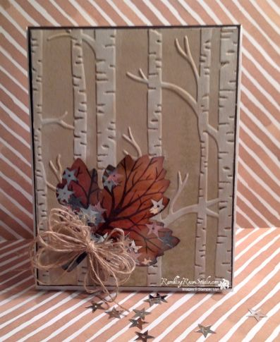 An interesting leaf by Billie with the tree from Sheltering Tree as the leaf's veins. She also used Wonderland,  Woodland embossing folder, Leaflets framelits, & more - all from Stampin' Up!