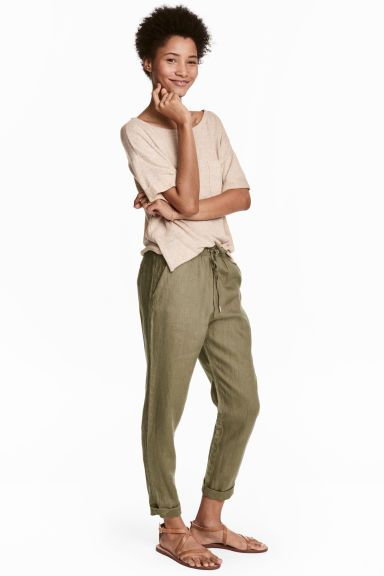 Pantalon jogger en lin - Vert kaki - FEMME | H&M CH 1