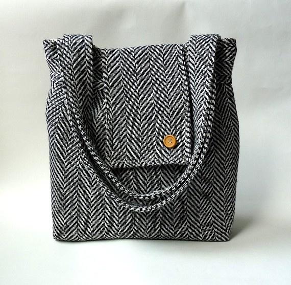 AMY Big HERRINGBONE Wool Black and White . French Shoulder Bag. ikabags' shop on etsy. $109.74