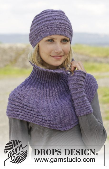 "Knitted DROPS hat, neck warmer and wrist warmers in garter st with rib in ""Alpaca"". ~ DROPS Design"